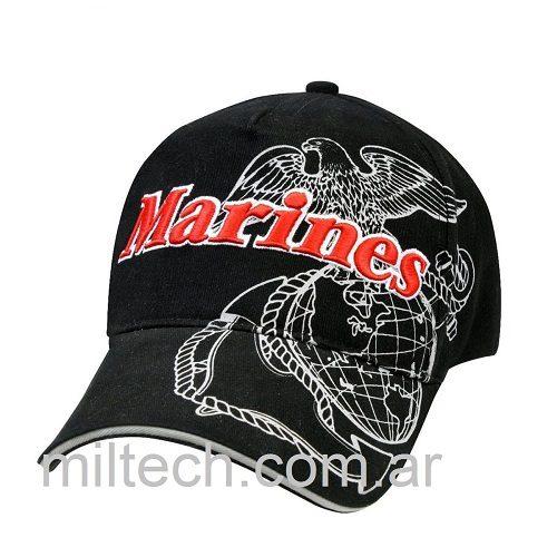 Gorra modelo Marines letras 3D, fondo color negro letras rojas y escudo de fondo en blanco, imp. 9794
