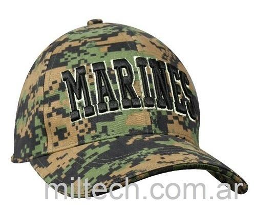 Gorra modelo Marines letras 3D fondo camo digital selva, imp. 9437